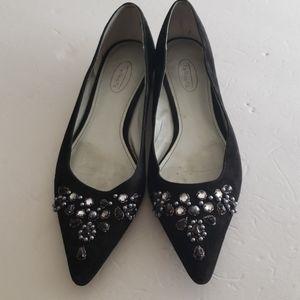 Talbots Black Suede Embellished Flats, Size 9